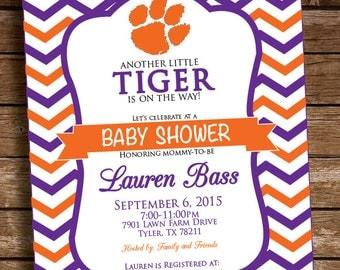 Clemson Tigers Baby Shower Invitation - Printable