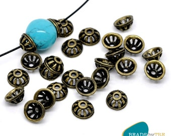 10 x Antique Bronze Bead Caps Findings for 10-20mm Beads | Craft Jewellery Making | BCPS45