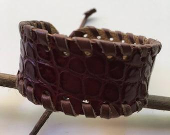 Handmade Leather Brown Cuff Bracelet