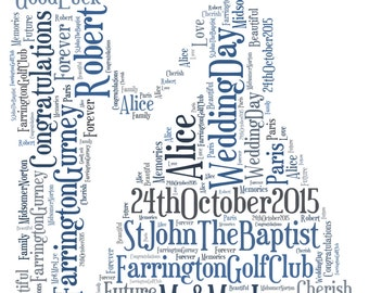 A4 Personalised Word Art Wedding Couple Print