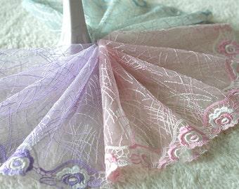 "5 yard 17cm 6.69"" wide purple/pink/light blue mesh embroidery lace trim ribbon L22K431 free ship"