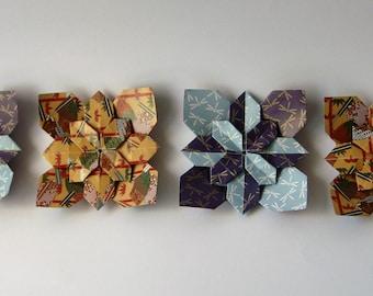 4 x Handmade Origami Hydrangea Tessellation Pieces
