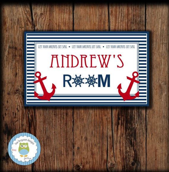 Personalized Nautical Bedroom Door Sign For Kids