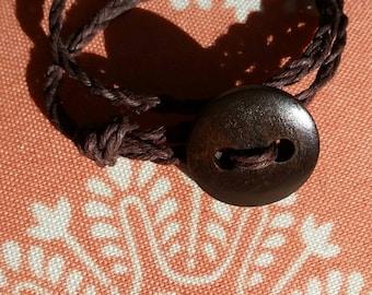 Hemp bracelet with wood button