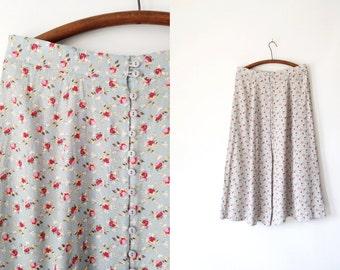 Vintage 90s Robin's Egg Blue Express Rose Floral Skirt XL