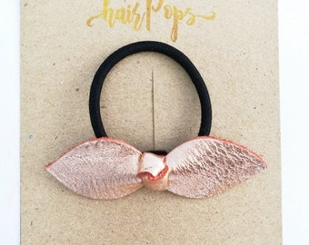 Genuine Leather Hair Tie - Peach