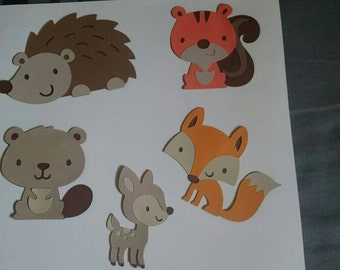 5 woodland creatures die cut set. Scrapbooking card making party invitations party favors baby shower fawn fox squirrel hedgehog beaver