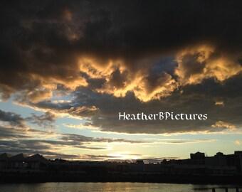 Sunset, Beautiful Clouds, Salem MA. In Landscape.