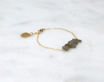 Labradorite Chip Bar Bracelet