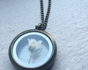 """27"""" Pressed Flower Pendant Locket Necklace  - Great gift for nature lovers!"""