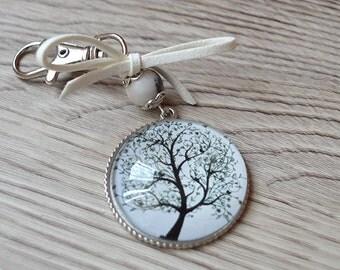 Keychain Cabochon, Keychain Three, Keyring, Cabochon Pendant, Glass Cabochon Keychain, Three Charm,