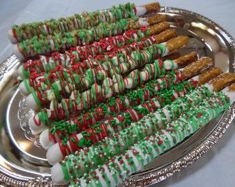 Chocolate Dipped Pretzel Rods - 1 Dozen
