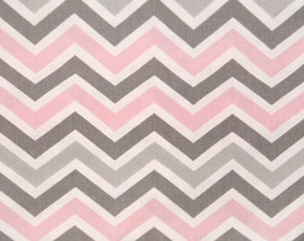 Grey, Baby Pink and White Chevron Fabric by the Yard and Fat Quarter