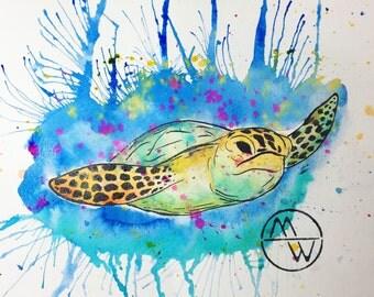 Art Print, Print, Wall Print, Abstract Ink Painting Print, Ink Painting, Abstract Painting Prints, Sea life, Sea life Painting, sea Turtle