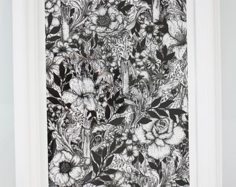 Gothic Artwork, Victorian Print, Occult Art, Flower Drawing, Pen and Ink Drawing, Illustration, Wall Art, Black White Print, Alternative art