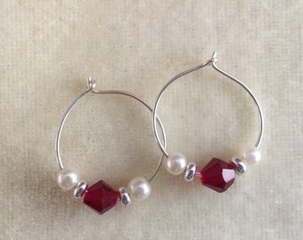Red crystal, pearl hoops
