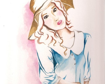 pretty  with hat original watercolor painting