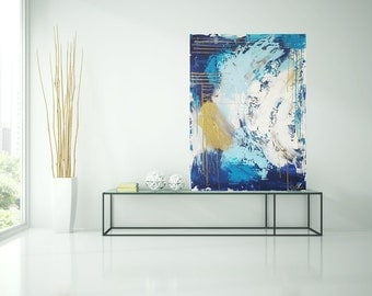 Abstract image, blue, gold, white, turquoise, acrylic, art, painting, original art by Camilla Schima