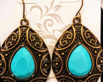 New: Antique Gold Turquoise Dangle Earrings