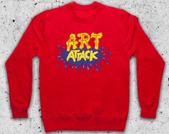 Art Attack Retro Kids TV Inspired Mens & Women's Sweater Sweatshirt Sweat Jumper Pullover and/or Hoodie Hooded Top (Available in RED only)