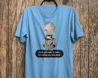 Depressed Marvin Paranoid Android Guide Hitchhikers To The Galaxy Cult Sci Fi Adults Mens & Women's T-shirt Top Tee Shirt All Sizes Colours
