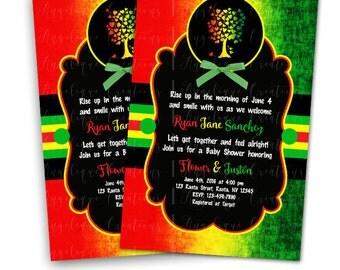 Rasta Baby Shower Invitations & Blank Digital Thank You Card to match