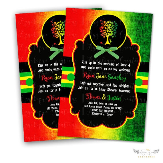 Rasta Baby Shower Invitations & Blank Digital Thank You Card to match