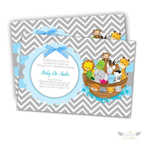 Noah's Ark, Chevron, Animals Baby Shower Invitations & Blank Digital Thank You Card to match
