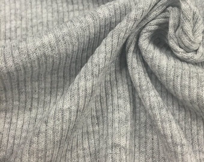 Cotton Blend 2x1 Rib Knit Fabric with Spandex (Wholesale Price Available By the Bolt) - 6130RH10 -Heather Grey - 1 Yard