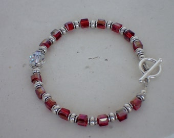 "7"" Red Swarovski Crystal Beaded Bracelet"