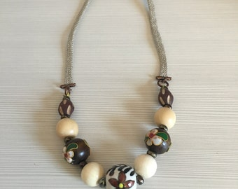 handmade necklace with ceramic and wooden beads