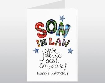 Tartan Words Card Son In Law WWTW22