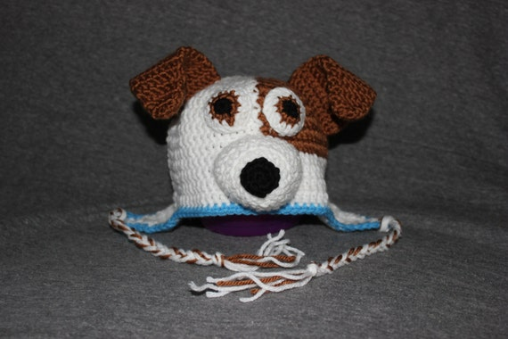 Dog Puppy Terrier Mix Crocheted Hat Dog With Patch Crochet
