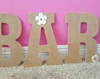 Burlap BAR Letters