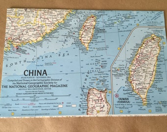 1964 National Geographic Map of China. Map Taiwan. Old Map. Vintage Map