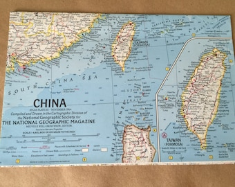 1964 National Geographic Map of China Map Taiwan Old Map