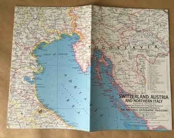 1965 Vintage National Geographic Map Switzerland, Austria, Italy, Yugoslavia
