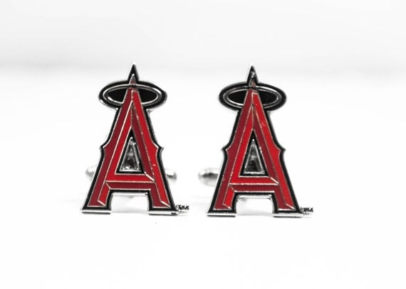 Los Angeles Angels of Anaheim Cuff Links -- FREE SHIPPING with USPS First Class Domestic Mail