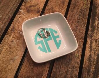 monogrammed jewelry dish