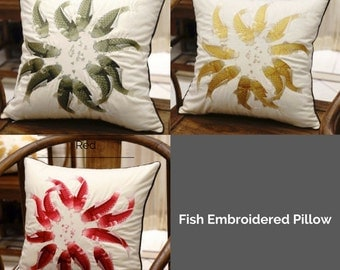 "Luxury Green/Yellow/Red Fish Embroidered Pillow Cover 18""X18"""
