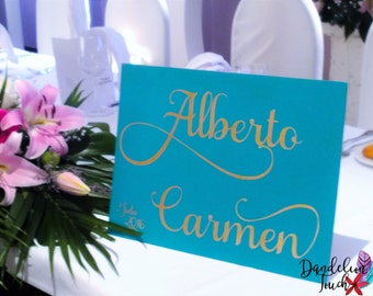 Poster of wood for the reception or table of bride and groom personalized