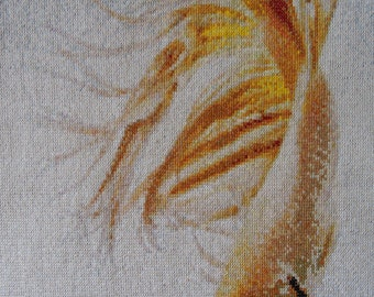 Golden Betta Fish completed cross stitch