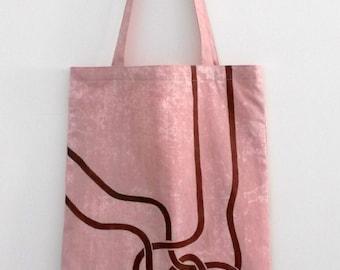handpainted tote bag 'pink elephant'