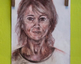 Artistic portrait sepia charcoal and charcoal on paper with custom pink-from photo-commissioned