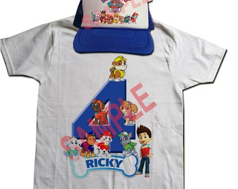 Custom Personalized Paw Patrol Shirt and Youth Trucker Hat Select Color Combo