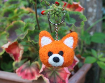 Needle Felted Fox Keychain//Fox Plush Collectable//Bespoke
