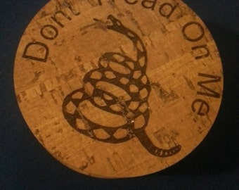Gadsden flag drink coasters Don't Tread on Me cork bamboo set of 4 pieces