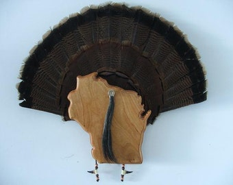 Wild Turkey Tail Fan Mount - Cherry - State of Wisconsin