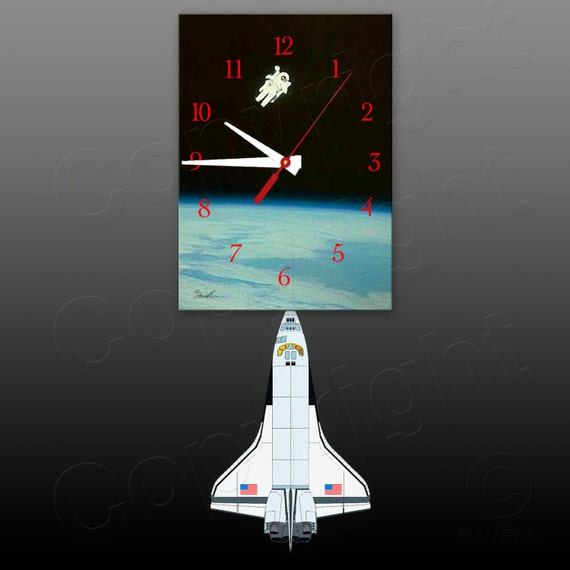 Space Clock with Space Shuttle Pendulum • Astronaut Clock