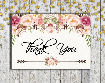 INSTANT DOWNLOAD, Foldable Thank You Card, Thank You Tent Card, 3.5x5 Card, Floral Thank You Card, Bohemian Thank You, Office Printables